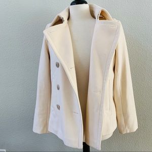 J. Crew Jackets & Coats - J.CREW off white wool double breasted pea coat M